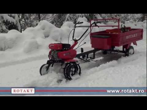 Motocultor benzina Rotakt ROG75 cu remorca la munte