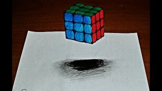 3d rubik cupe  drawing