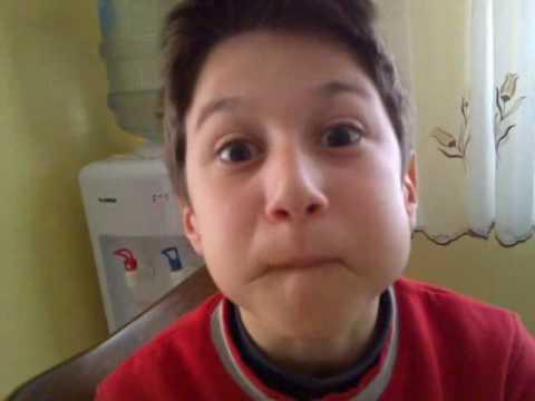 Funny kid holding breath