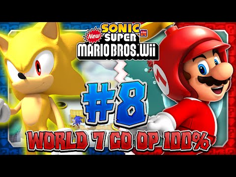 Sonic & Mario in New Super Mario Bros Wii Co Op 100 Part 8