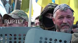 Ukraine: Shield wall protects protesters setting up camp outside parliament