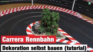 Carrera Rennbahn Tagebuch - #7 - 240° Kurve Dekoration bauen mit Figuren, Reifenstapel und Bäumen