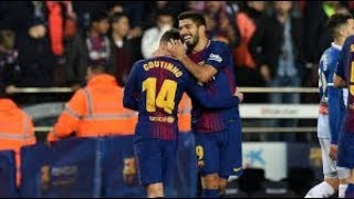 coutinho super long shot goal againt girona, barca wining 6-1 24feb 2018
