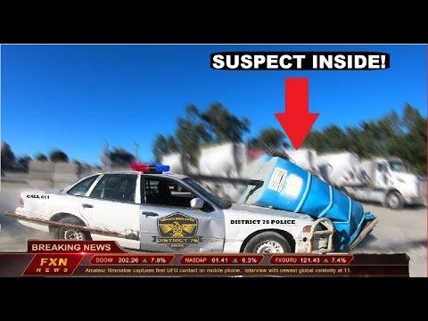 Police Car Ram Porta Potty With Criminal Inside Crown Rick Auto