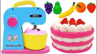 Toy Mixer Playset Pretend Play Squishy Strawberry Cake Play Doh for Kids