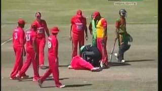 Keegan Meth lost teeth by straight drive (Bangladesh vs Zimbabwe 5th ODI 2011)