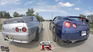 R32 SKYLINE GT-R vs. R35 GT-R!