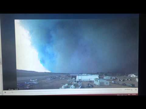 May 5th 2016. Fort McMurray Fire airport 24 hour webcam timelapse east of Beacon Hill wildfire