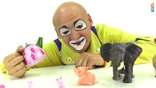Funny Video for children. Clowns for kids. Making toy animals grow. Смешное видео для детей.