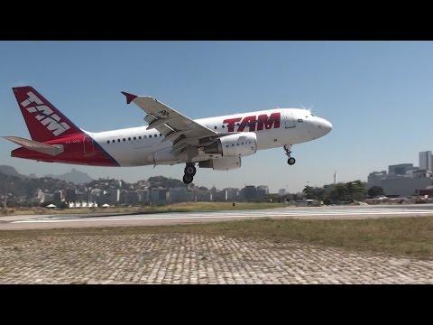 Aeroporto Santos Dumont Aviões Decolando e Pousando Perigo TAM GOL AZUL AVIANCA