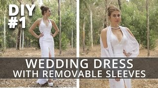 Sewing Wedding Dress with Removable Sleeves. Part 1