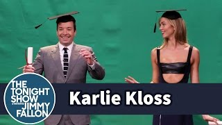Karlie Kloss Teaches Jimmy to Pose in Midair