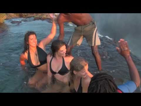 Girls unbelievable experience at Victoria Falls! Devil's Pool, Livingstone Island, Zambia