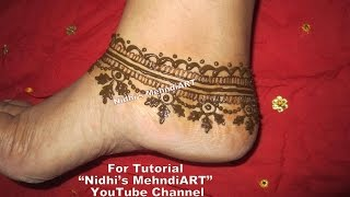 Pretty Anklet Feet Jewellery Ornament Inspired Mehndi Henna Design Tutorial