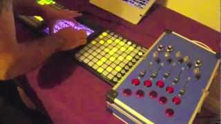 Controllerism - iProv using Ableton Live, Novation LaunchPad, Liine Lemur, DIY midi controller.