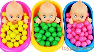 Learn Colors Surprise Eggs Baby Doll Bubble Gum Bath Time Finger Family Song Nursery Rhymes For Kids