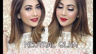 Neutral Glam Makeup Tutorial l wet n wild Photofocus Foundation Review