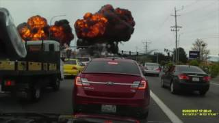 Dramatic Dashcam Footage Shows Plane Crash in Mukilteo Washington