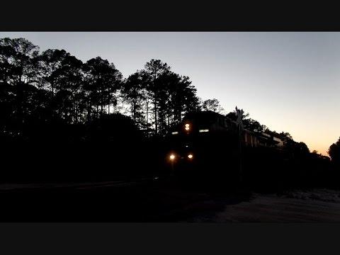 CSX Train Going Through Forest During Dusk