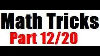 Best math tricks series Part 12 /20 English medium