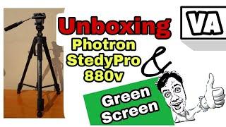 Unboxing Photron Stedy Pro 880v tripod & Green Screen
