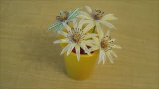 Recycle : How to make drinking straw flowers