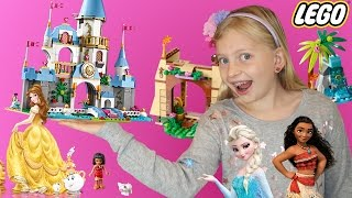 Beauty and the Beast, Moana, Frozen, & Fairies Dragon Lego Playtime!!