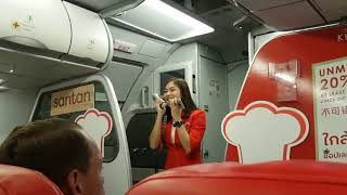 Cute Thai AirAsia stewardess's performance during flight delay