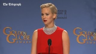 Jennifer Lawrence tells reporter off for using his phone at Golden Globes