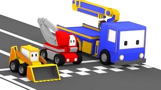 The Racing Track - Learn with Tiny Trucks: bulldozer, crane, excavator | Educational cartoon