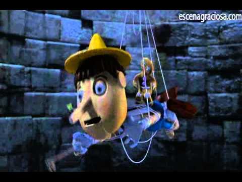 Escena Graciosa de Shrek 2 Tanga Roja de Pinocho