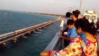 Pamban bridge in Rameshwaram, train crossing