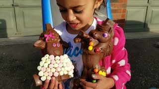 Kids Pretend Play with Chocolate Sheep Surprise Toys! Family Fun Video
