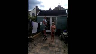Naked Woman does ice bucket challenge!!!!