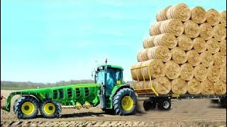 World Amazing Modern Agriculture Equipment Mega Machines Hay Bale Handling Tractor Loader Fork #ALN
