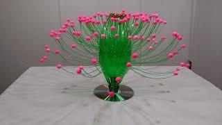 Empty Plastic Bottle Vase Making Craft, Water Bottle Recycle Flower Vase Art Decoration Idea