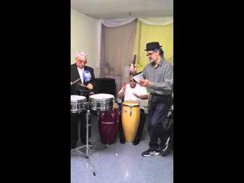 86 Year Old Grandpa Getting Down on the Timbales and His Son Getting Down On the Congas
