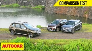 Hyundai Creta VS Maruti S Cross VS Renault Duster | Comparison Test  Autocar India