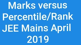 JEE mains April 2019    MARKS versus PERCENTILE and Ranking in single video