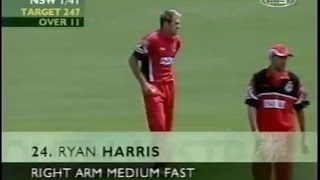 Young Ryan Harris bowling 15 years ago! Clarke batting, Lehmann captain!