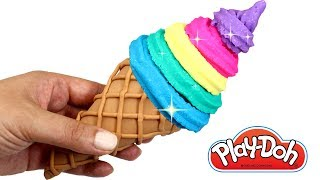 How to Make Rainbow Ice Cream Learn Colors Play Doh for Kids Toy Microwave Squishy Food Ice Cream