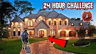 ASKING MILLIONAIRES IF I CAN SLEEPOVER IN THEIR MANSION   24 HOUR CHALLENGE AT A STRANGERS HOUSE!
