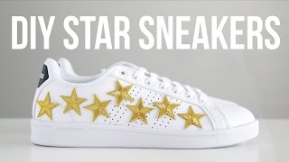DIY Star-embroidered sneakers//no-sew!