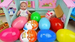 Baby doll house Surprise eggs and Kinder joy with truck car toys play