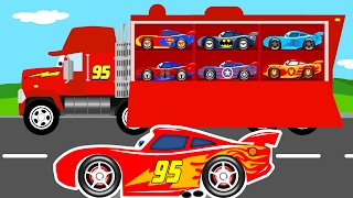 COLOR CARS Transportation & Truck Cartoon for Kids w Colors for Children Learn Numbers