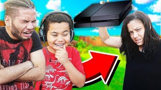 Kid gets CAUGHT Playing Fortnite while GROUNDED! (EXTREME PUNISHMENT!) *MOM DESTROYS WRONG SONS PS4*