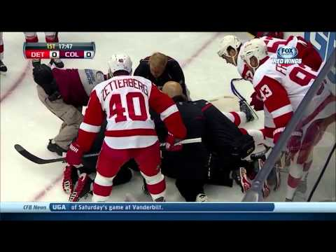 Niklas Kronwall Hit to the Head SCARY INJURY Detroit Red wings vs. Colorado Avalanche