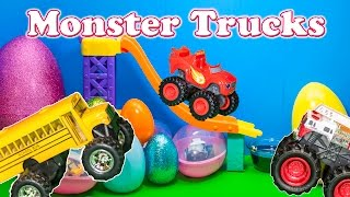 Opening Monster Truck Surprise Eggs with Blaze and the Monster Machines