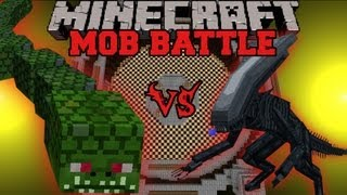 Naga Vs. Alien - Minecraft Mob Battles - Twilight Forest and OreSpawn Mod