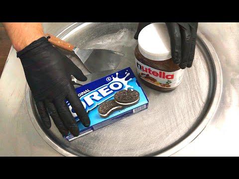 Nutella & Oreo Ice Cream Rolls - how to make delicious Nutella and Oreo Cookies ice cream | ASMR
